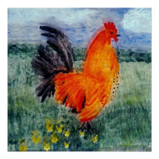 Rooster Chicken Art Print
