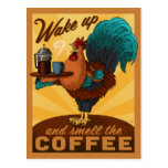 Wake Up & Smell The Coffee Vintage Rooster Postcard