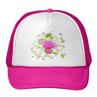 Rose and hearts trucker hats