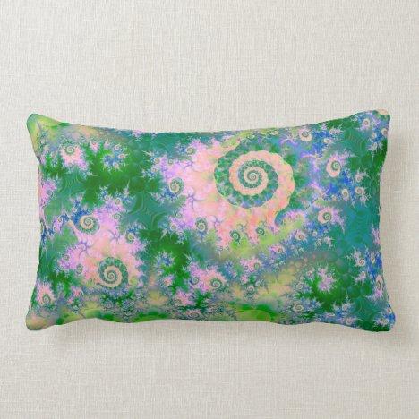 Rose Apple Green Dreams, Abstract Water Garden Lumbar Pillow