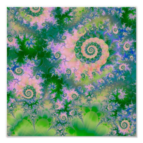 Rose Apple Green Dreams, Abstract Water Garden Poster