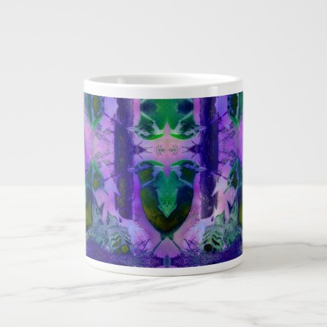 Rose Birds – Violet & Pink Cycle Large Coffee Mug