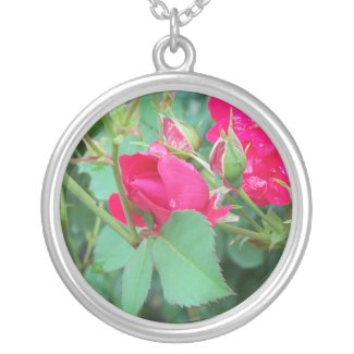 Rose Bud with Water Droplet Necklace necklace