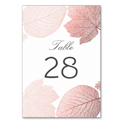Rose Gold and White Fall Leaves Wedding Table Number