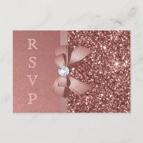 Rose Gold Blush Glitter Bow RSVP