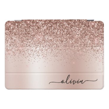 Rose Gold - Blush Pink Glitter Metal Monogram Name iPad Pro Cover