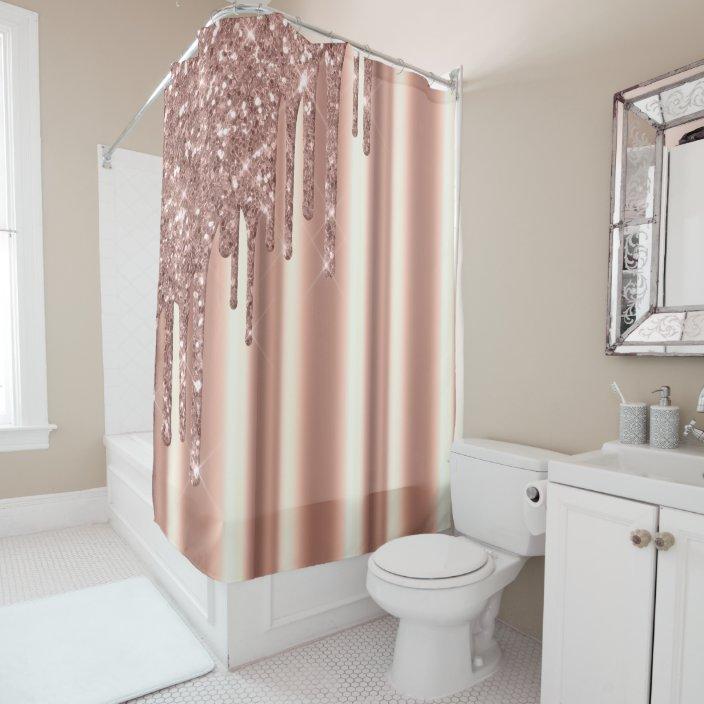 rose gold corner glitter drips foil metallic blush shower curtain zazzle com