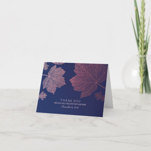 Rose Gold Fall Leaves Wedding Thank You