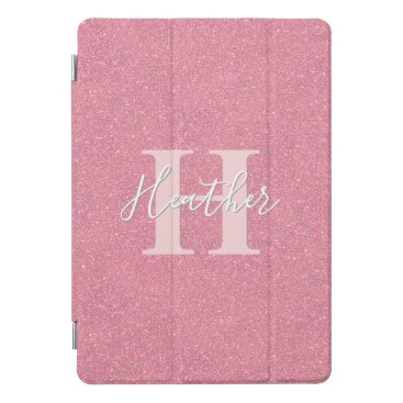 Rose gold faux glitter monogram name iPad pro cover