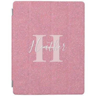 Rose gold faux glitter monogram name iPad smart cover