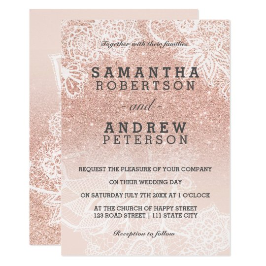 Rose Gold Faux Glitter Pink Ombre Lace Wedding Invitation