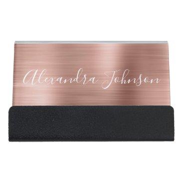 Rose Gold Foil | Blush Pink Foil Modern Desk Business Card Holder