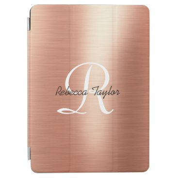 Rose Gold Foil Elegant Monogram Name iPad Air Cover