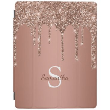 Rose Gold Glitter Sparkle Drip Monogram Name iPad Smart Cover