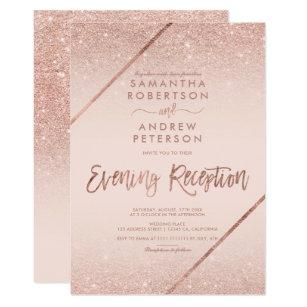 Rose Gold Glitter Typography Blush Pink Wedding 2 Invitation