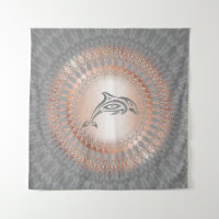 Rose Gold Gray Dolphin Mandala Tapestry