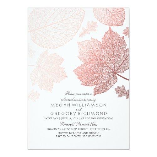 Rose Gold Leaves Elegant Fall Rehearsal Dinner Invitation