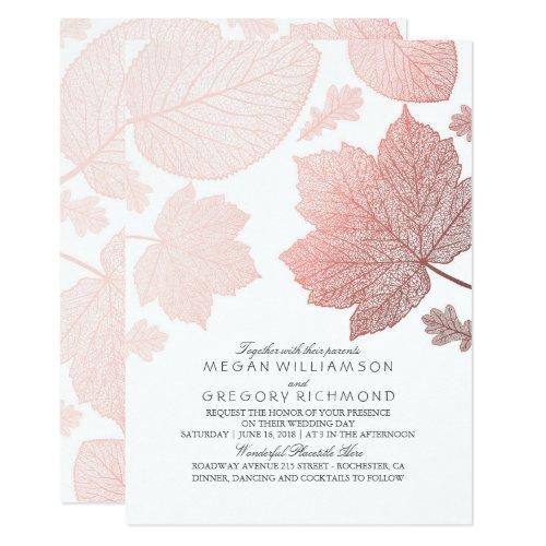 Rose Gold Leaves Elegant White Fall Wedding Invitation
