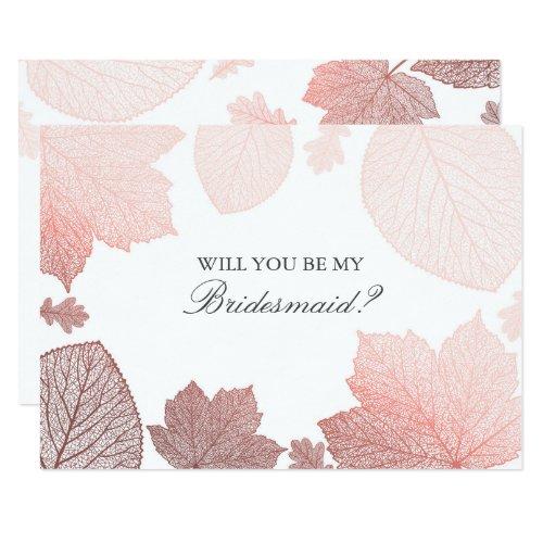 Rose Gold Leaves Fall Wedding Bridesmaid Proposal Invitation