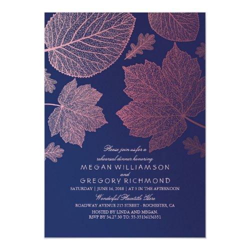 Rose Gold Leaves Navy Blue Fall Rehearsal Dinner Invitation