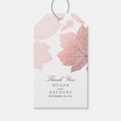 Rose Gold Leaves White Fall Wedding Gift Tags