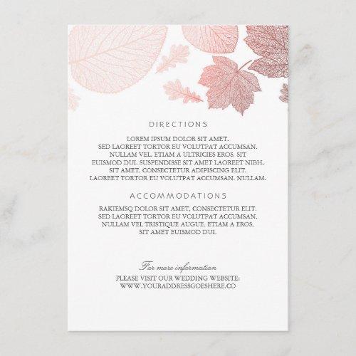 Rose Gold Leaves White Wedding Details Enclosure Card