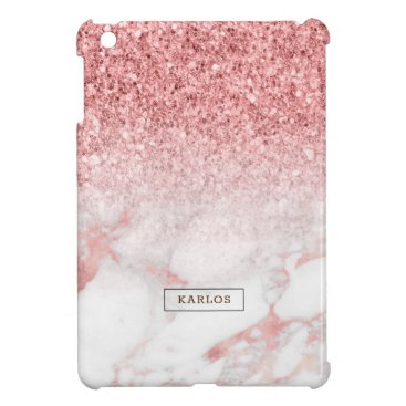 Rose-gold marble and glitter ombre case for the iPad mini