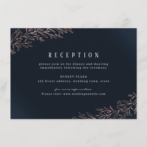 Rose gold navy botanical foliage wedding reception enclosure card