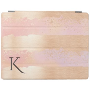 Rose Gold Stripes Monogrammed iPad Smart Cover