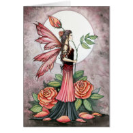Rose of Fire Fairy Greeting Card