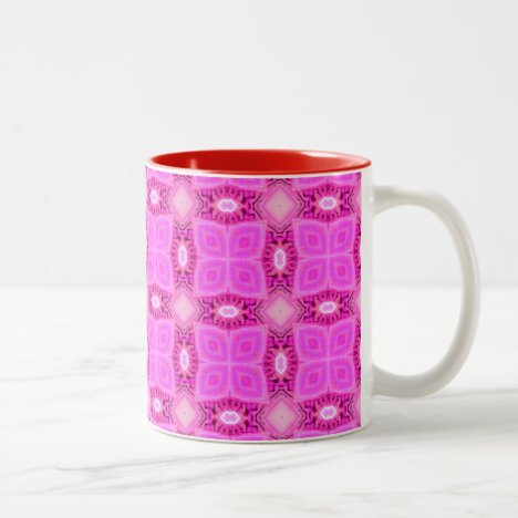 Rose Pink Lattice Modern Hawaiian Quilt Two-Tone Coffee Mug