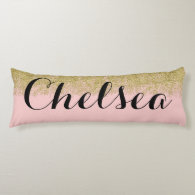 Rose Quartz-Pink Glitter Name Pillow
