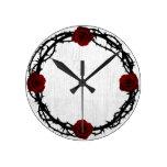 Rose Thorn Rustic Wood Fairytale Round Clock