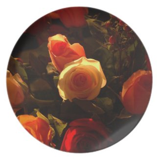 Roses I - Orange, Red and Gold Glory fuji_plate