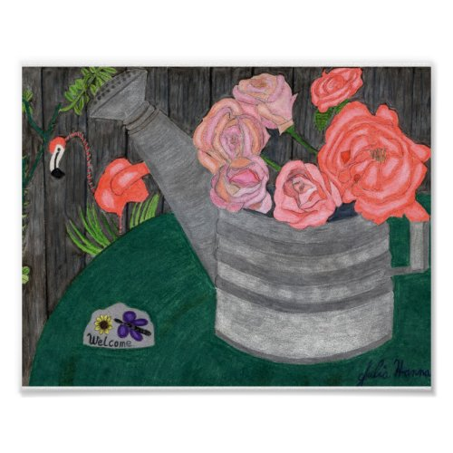 Roses In The Watering Can by Julia Hanna Print