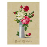 Roses in Vase Best Wishes Vintage Reproduction Postcard