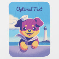 Rottweiler Puppy Sea Dog Sailor Receiving Blanket