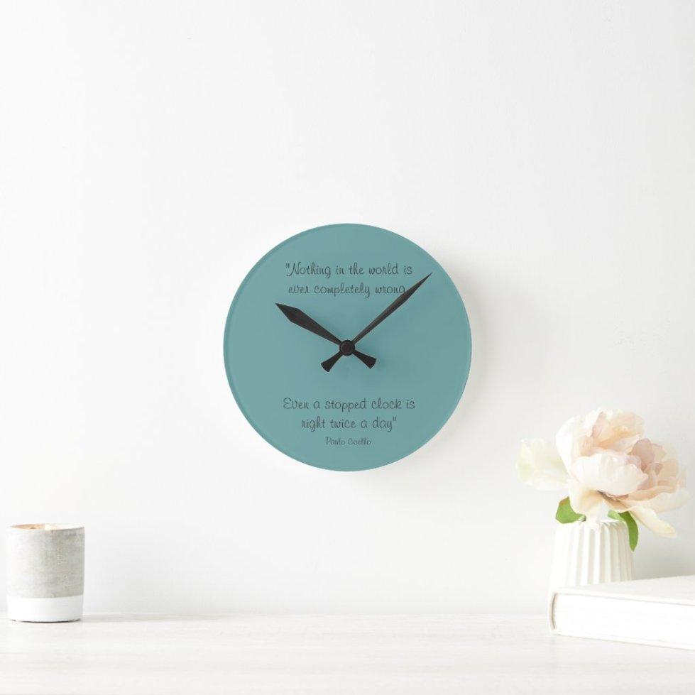 Round Clock with Paulo Coelho Quote