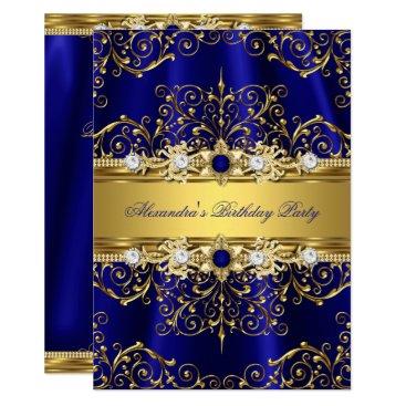 Royal Blue & Gold Damask Elegant Birthday Party Invitation