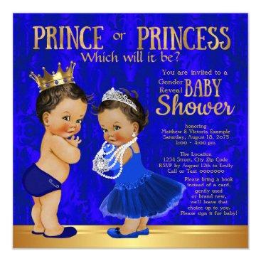 Royal Blue Gold Prince Princess Gender Reveal Card