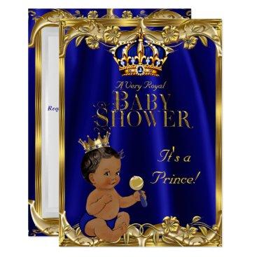 Royal Blue Navy Gold Prince Baby Shower Ethnic Invitation