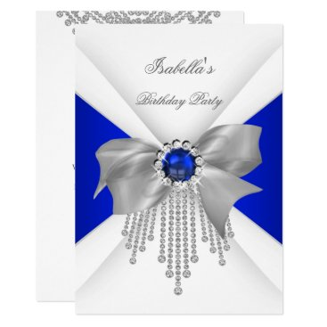 Royal Blue White Diamond Pearl Birthday Party Card