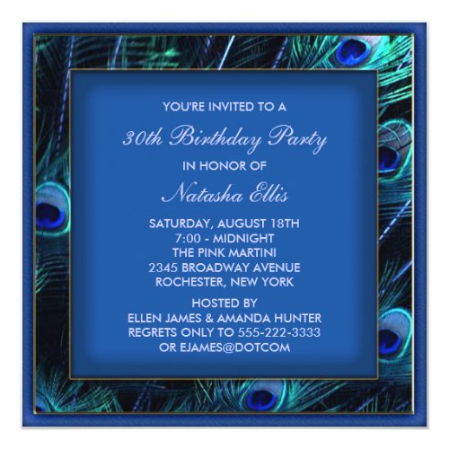 Royal Blue Womans Peacock Birthday Party Card