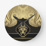 royal,gold,fleur de lis,pattern,on black,elegant, round wall clocks