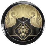royal,gold,fleur de lis,pattern,on black,elegant,v aquarium clock