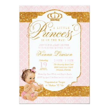 Royal Little Princess Pink and Gold Baby Shower Card