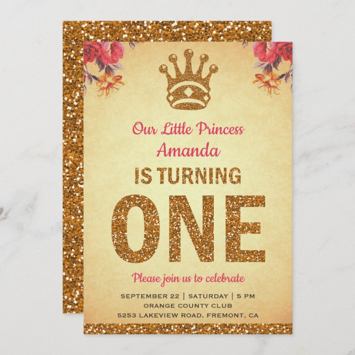 royal princess gold glitter first birthday party invitation zazzle com