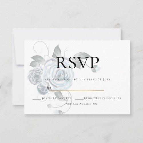RSVP  | Watercolor Dusty Blue Floral Wedding