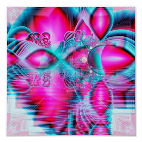 Ruby Red Crystal Palace, Abstract Jewels Poster