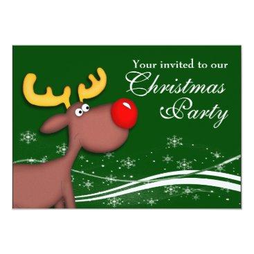 Rudolf Reindeer Company Christmas Party Card